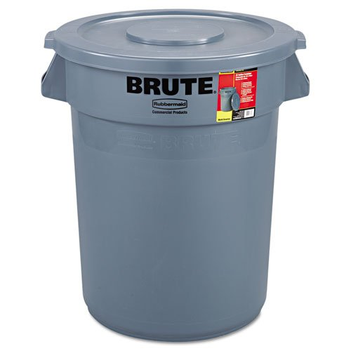 l 863292GRA Brute Container All-Inclusive, Round, Plastic, 32gal, Gray (32 Gal Brute Waste Container)
