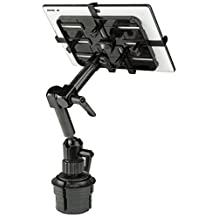 Mount-It! MI-7321 Carbon Fiber Car Cup Holder Tablet Mount Stand Apple iPad, Samsung Galaxy Tab, Microsoft Surface, Other Tablets with 7 to 11 Inch Screens, Full Motion, 3.3 Lbs Rated, Lockable Joints