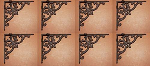Southern Metal Victorian Fleur De Lis Cast Iron Shelf Brackets 6 1/4 inches, Set of 8, B-77