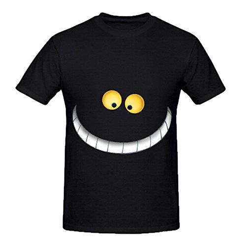 Cheshire Cat Style Men O Neck Short Sleeve Shirts Black