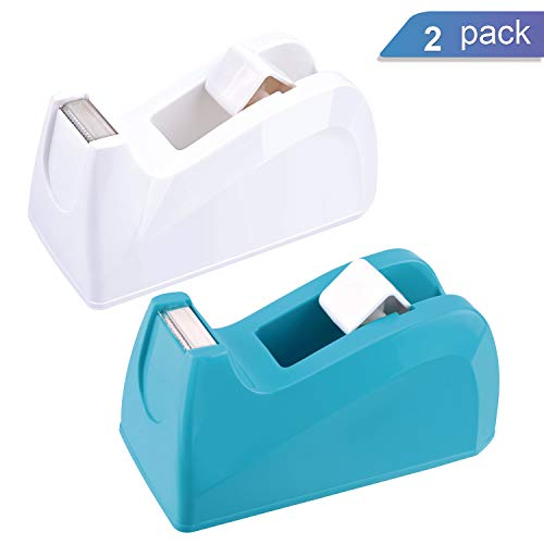 Ktrio Heavy Duty Tape Dispenser Desk Tape Dispensers 1 inch Core Desktop Office Tape Dispenser for 1/2 or 3/4 Magic Tape Invisible Tape, Non-Slip One-Hand Tape Holder, 2 Pack