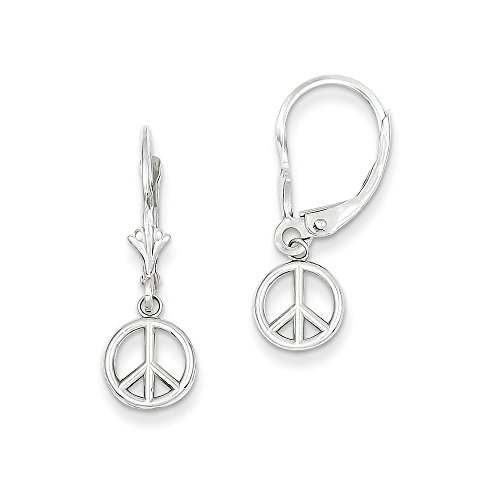 14kt White Gold Polished Peace Sign Leverback Earrings