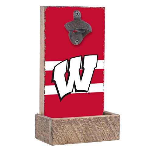 Rustic Marlin NCAA Wisconsin Badgers Bottle Opener with Team Color Stripes, Red, 12