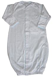 Kissy Kissy Baby Signature Convertible Gown-White with Blue-Small