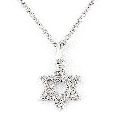 White-Diamond Gemstone & Accented Diamond Pendant-Necklace Set In 14K (0.1 Ct Gemstones)