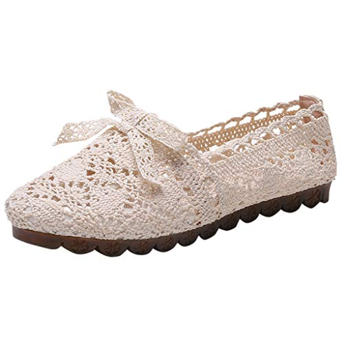 Goddessvan Women's Fashion Solid Flat Shoes Hollow Out Embroidery Comfortable Versatile Shoes Beige