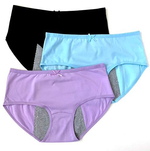 Luna Cup Menstrual Underwear Breathable Period Panties Postartum Inconvience Panty, Pack of 3, for Women Girls (M/L, Black, Blue, Purple)