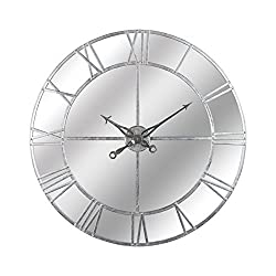 Hill Interiors Foil Mirrored Wall Clock (Large) (Silver)