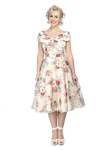 Collectif Vintage Women 1950, diseño floral, color rojo y crema Dorothy vestido de jardín
