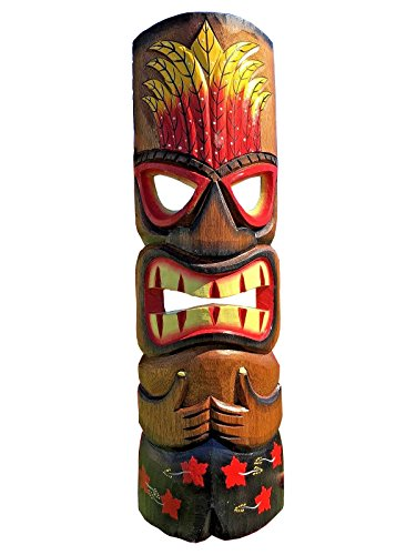 20-Handcarved-Wood-Tiki-Mask-Tropical-Hawaiian-Style-with-Red-Flower-Shorts