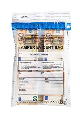 USPACKSMART Deposit Bags for Cash Handling or Bank Deposits, Level 5 of Security Tape. Size 9