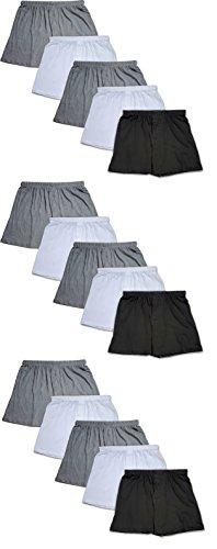 Andrew Scott Men's 12 Pack King Size Big Man Cotton Knit Sleep Boxer Shorts (15 Pack Bonus- Black/White/Grey, X-Large)
