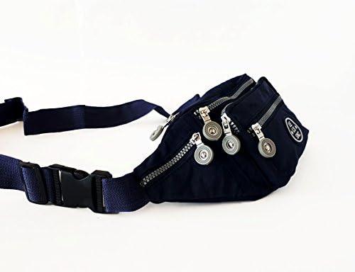 5cc0afa849c1 Le Sac Fanny Pack Waist Packs Money Belt Navy Blue 6 Zippered ...