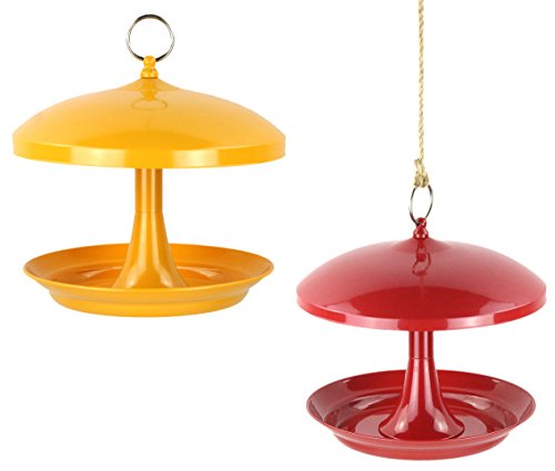 Flowers Proof Squirrel (Gardirect Steel Tray Bird Feeder, 2 Packs (Red and Yellow))