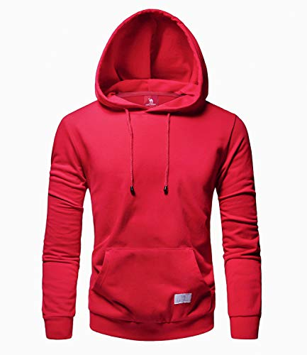 Camel Men's Hoodies - Athletic Midweight Hooded Adult Long Sleeve Pullover Sweatshirt, Red, Large ()