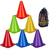 cyrico Plastic Training Traffic Cones, 9 Inch Orange Cones Sports Agility Field Marker Cones for Soccer Basketball…