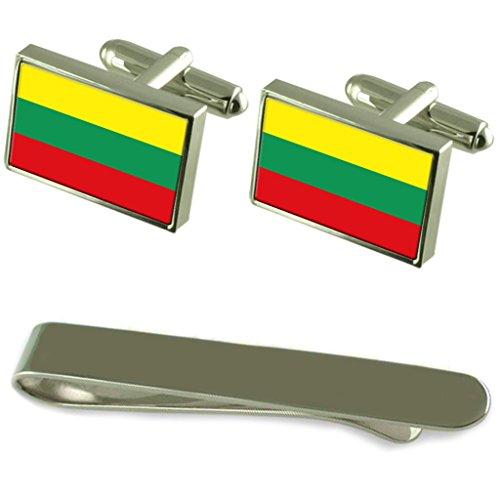 Drapeau de la Lituanie de manchette en argent gravé Cravate Cadeau