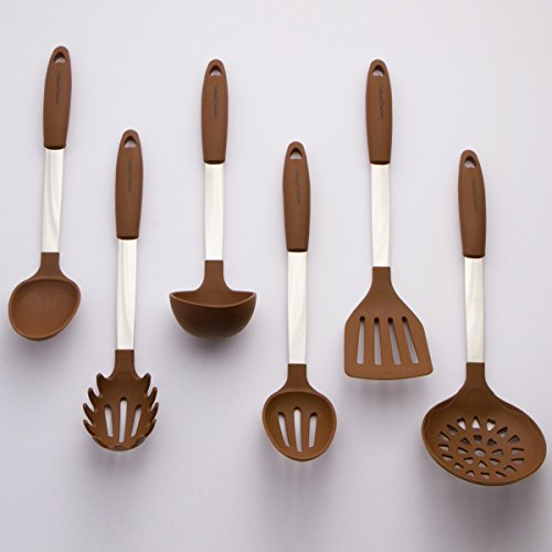Brown Kitchen Utensil Set – Stainless Steel & Silicone Heat Resistant Professional Cooking Tools – Spatula , Mixing & Slotted Spoon , Ladle , Pasta Fork Server , Drainer – Bonus Ebook!