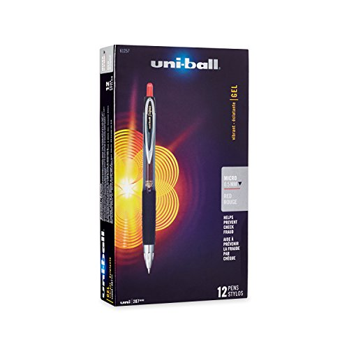 Uni-Ball Signo 207 Retractable Gel Pen, Micro Point, Red Ink, 12-Count