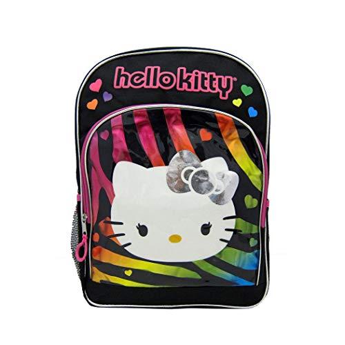 OS 1 Piece Kids Multi Color Hello Kitty Backpack, Black Rainbow Color Cat TV Series Cartoon Zebra Print Bow Tie Hearts School Bag Adjustable Strap, - Zebra Hello Print Kitty