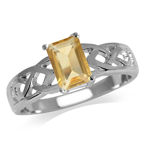 Silvershake 1.1ct. 7X5mm Natural Octagon Shape Citrine 925 Sterling Silver Celtic Knot Solitaire Ring