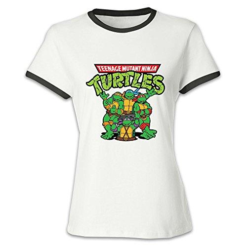 Short Sleeve Mutant Turtles Chibi Organic Cotton Contrast Color T-shirt For Women Black - Shop Pugh Gareth