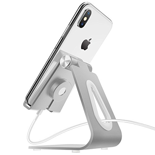 MOSTY Apple Watch Stand, Adjustable Charging Cell Phone iPhone Stand Universal 2 in 1 Desktop Aluminum Cradle Dock Holder for iPhone X 8 7 6s Plus All Android Smart Phones iPad Pro, Silver
