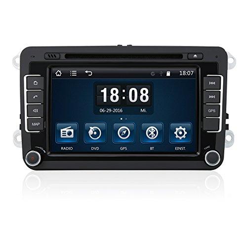 PUMPKIN 7 Zoll 2 Din Autoradio Moniceiver Car DVD Player für Jetta Golf Passat Tiguan unterstützt GPS Navigation, Bluetooth Freisprecheinrichtung