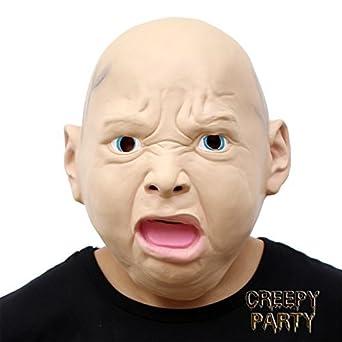 CreepyParty Máscara de Cabeza Humana de Fiesta de Traje Lujo ...