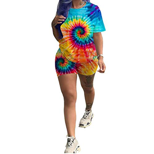 (Womens Shorts Set 2 Piece Outfits - Casual Tie Dye Print Short Sleeve T-Shirts and Shorts Tracksuits Jumpsuits Multilcolor 3X-Large)