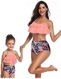 2pcs Girls Flounce Bikini Top High Waist Bottom Swimsuit Print Mother Daughter Bathing Suit (Mom S(US4-4), b-Yellow) (Mom M(US8-10), Orange)