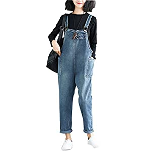Women's Baggy Denim Bib Overall Loose Jeans Jumpsuits