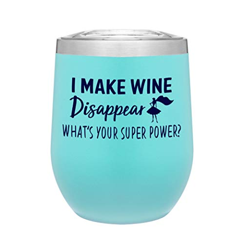 Stainless Steel 12 Ounce Stemless Wine Glass Tumbler with Lid | Double Wall Copper Vacuum Insulated | Powder Coated | Gift Idea for Women | Adult Sippy Cup With Funny Saying (Matte Seafoam Mint) ()