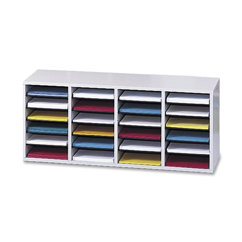 Safco Products 9423GR Wood Adjustable Literature Organizer, 24 Compartment, Gray