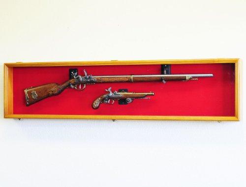 - Long Rifle / Musket Gun Display Case Wall Rack Cabinet w/ UV Protection -Lockable (Oak)