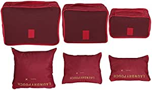 Oneleaf 6PCS/Set Waterproof Clothes Storage Bags Travel Organizers Packing Cubes Luggage Organizers Compression Pouches (Red)