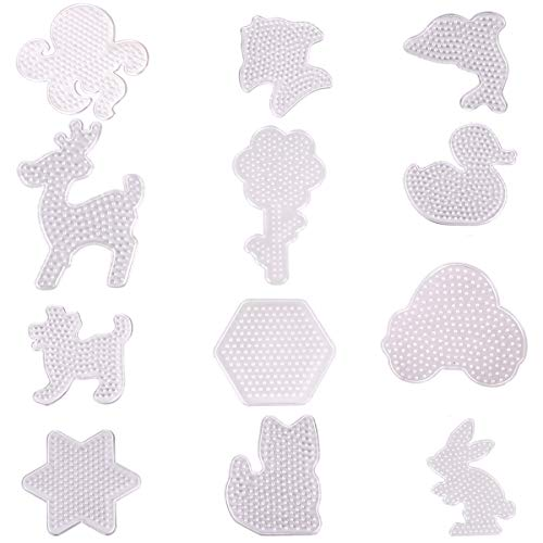 (Hapy Shop Fuse Beads Pegboards 12 Pack 5 mm Clear Plastic Cute Animal Shape Template Beads Boards for Kids Craft Beads)