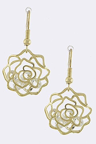 Crislu Gold Earrings (THE JEWEL RACK ROSE CUTOUT CAGED CRYSTAL DROP EARRINGS (Clear/Gold))