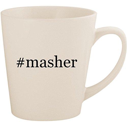 Masher Egg Mashy (#masher - White Hashtag 12oz Ceramic Latte Mug Cup)