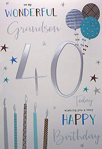 Tarjeta de cumpleaños para nieto, 40 cumpleaños: Amazon.es ...