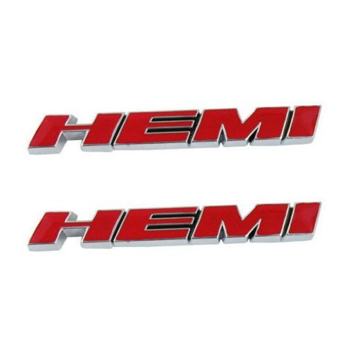 Dodge Hemi Charger (2pcs Red B186 HEMI Emblem Decal Badge Sticker Dodge Charger Ram 1500 Challenger Jeep Grand Cherokee)