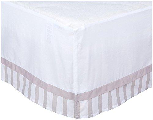 BreathableBaby Cotton Cribskirt, White/Gray Stripe