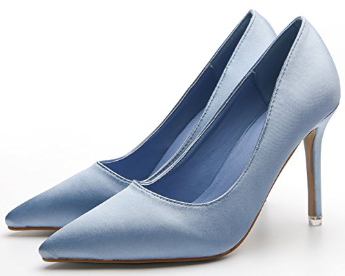 BIGTREE Women Work Stiletto Shoes Satin Pointed Toe Office Lady Court Shoes by Blue 2YVohPH5s