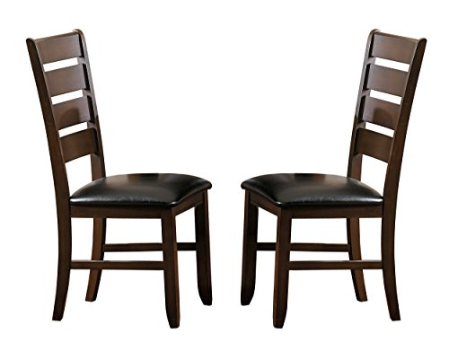 Homelegance Amaillia Set of 2 Modern Dining Chairs Ladder Back Design, Oak (Back With Chairs Seats Rush Ladder)