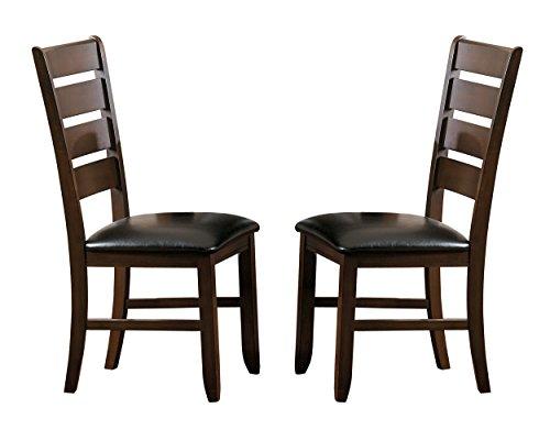 Homelegance Amaillia Set of 2 Modern Dining Chairs Ladder Back Design, Oak - Black Ladder Back Chairs