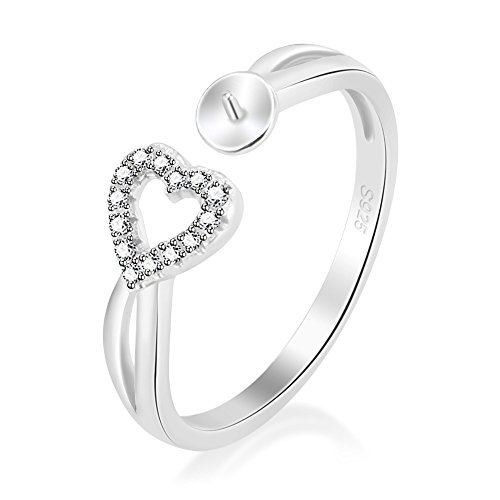 LGSY 925 Sterling Silver Adjustable Heart Open Ring In CZ Right-Hand Promise Ring DIY Pearl by LGSY