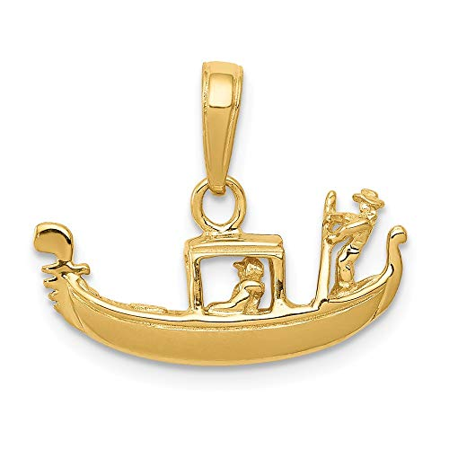 14k Yellow Gold Solid 3 Dimensional Gondola Pendant Charm Necklace Travel Transportation Fine Jewelry Gifts For Women For Her