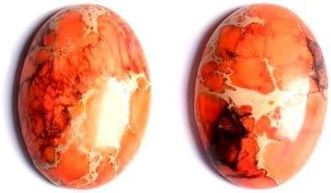 CB50473-1 Charming Beads 1 x Arancione Diaspro Impressione 18x25mm Cabochon Ovale
