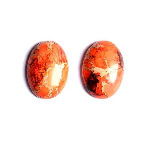 1 x Orange Impression Jasper 18x25mm Oval-Shaped Flat-Backed Cabochon - (CB50473-1) - Charming Beads
