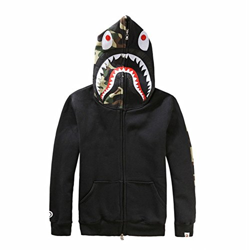 Griffith Nancy New Bathing Ape Bape Jacket Men Shark Head Full Zip Hoodie Sweater Jacket (Black, M)